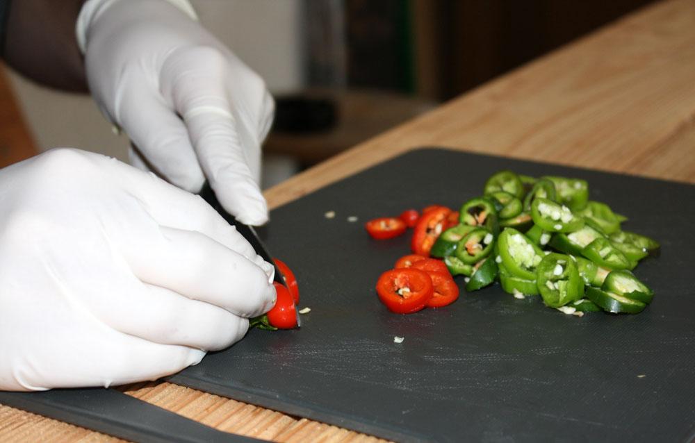cutting jalapenos