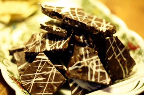 Chocolate Bark with Almonds and Cranberries