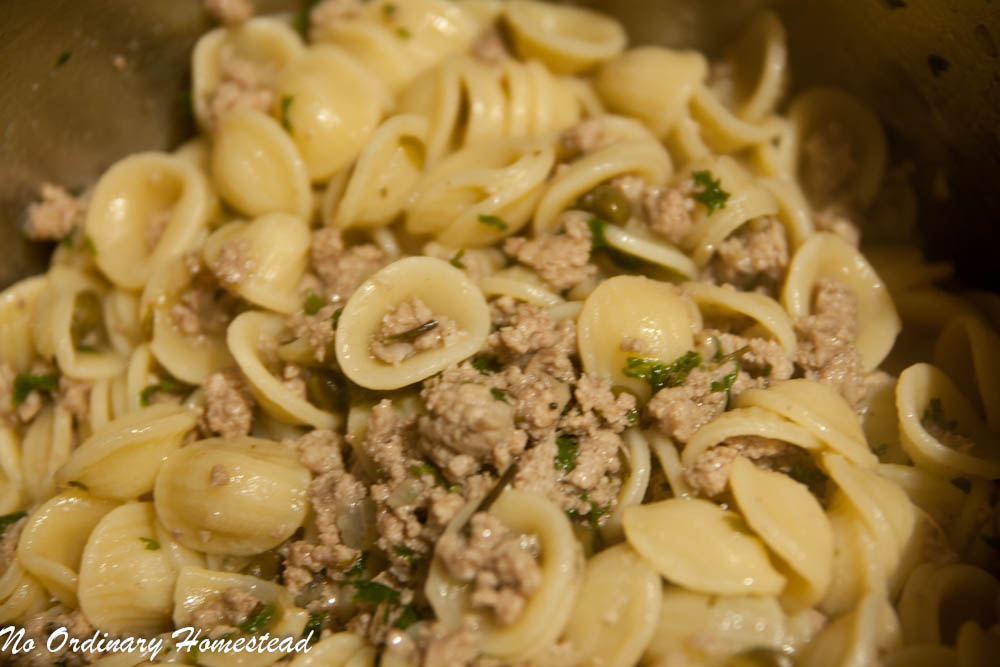 Orecchiette with Veal, Capers and White Wine Recipe