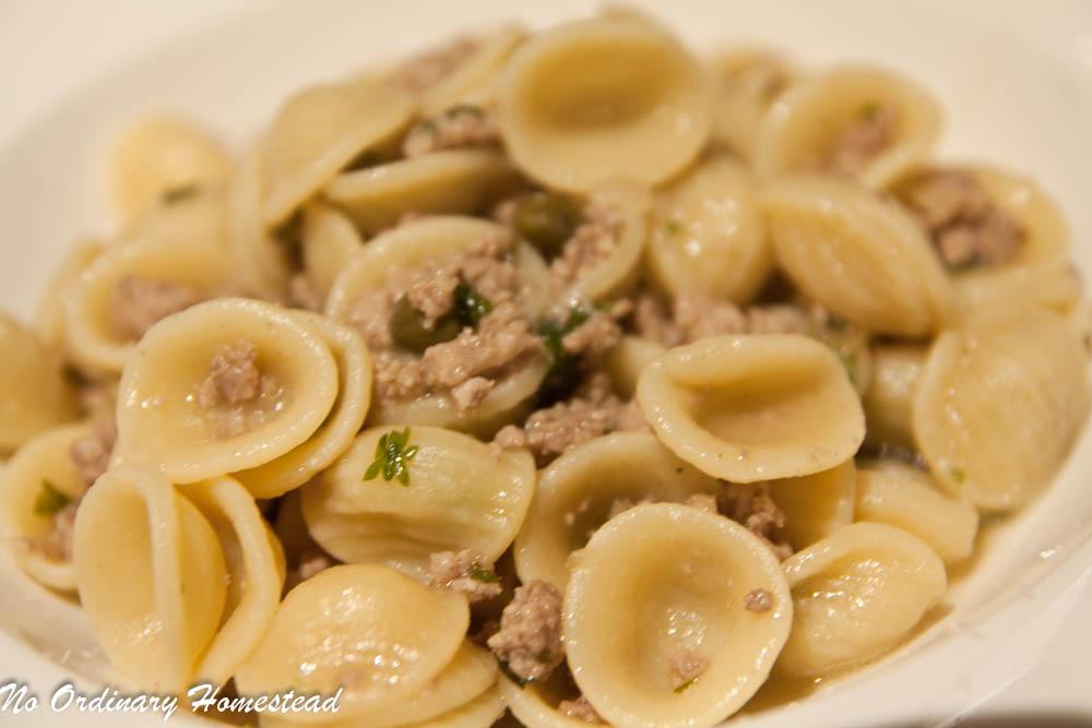 Orecchiette with Veal, Capers and White Wine Recipe