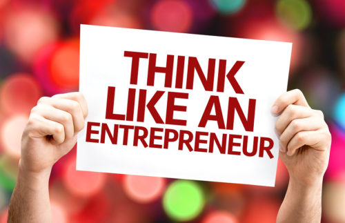 Think Like an Entrepreneur card with colorful background with de