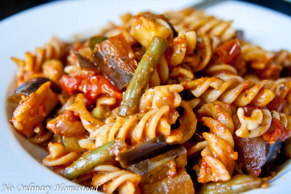 Fall vegetable pasta with zucchini, eggplant & green beans