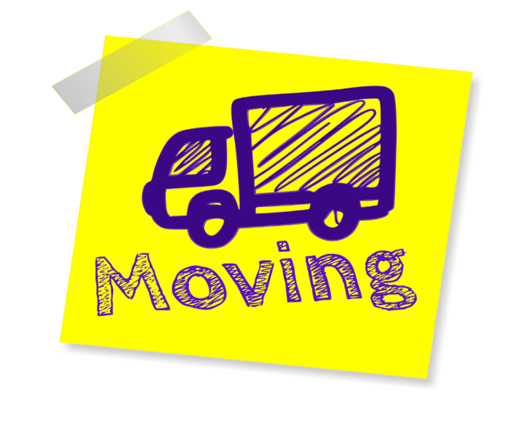 stock post it note with drawn moving truck